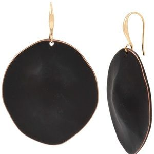 Robert Lee Morris Disc Drop Earrings-Black/Gold
